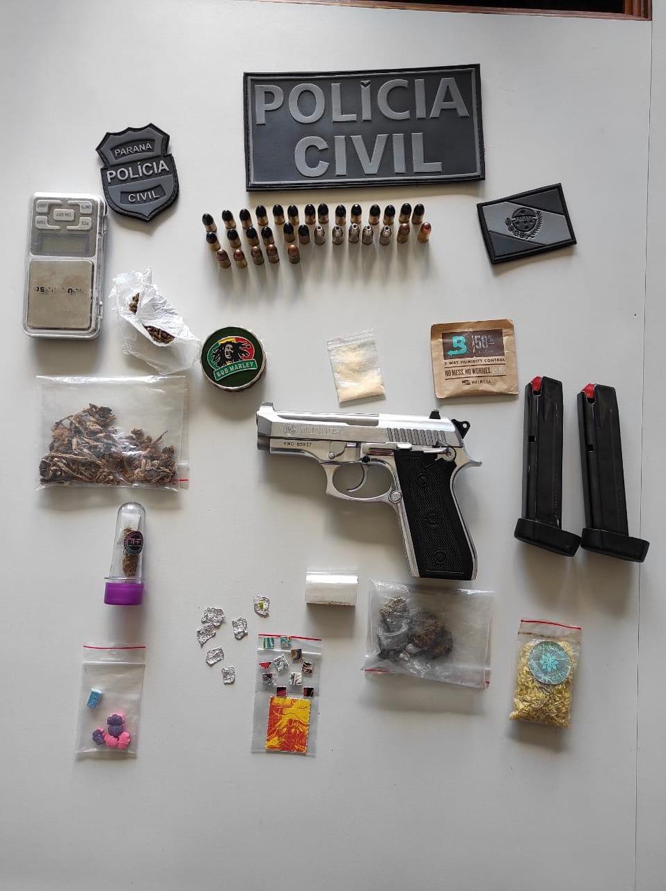 Polícia Civil de Jaguariaíva apreende drogas e arma de fogo