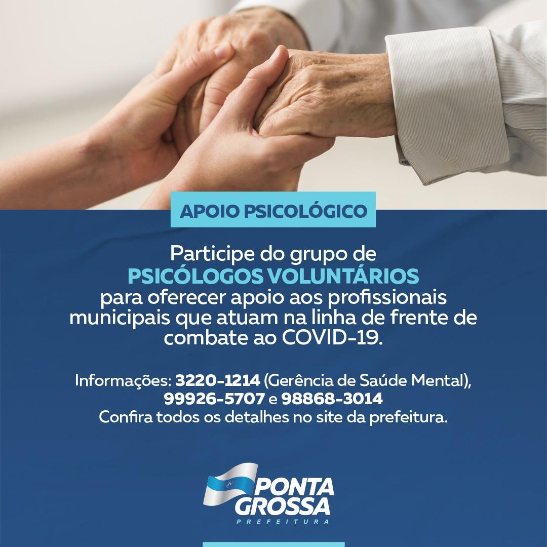 Saúde realiza ação para apoio psicológico de profissionais atuantes na linha de frente do combate a Covid-19, em PG