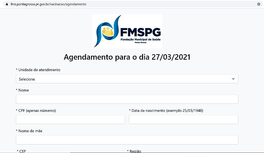 Prefeitura de Ponta Grossa lança plataforma de cadastro exclusiva para público-alvo da vacinação contra a Covid
