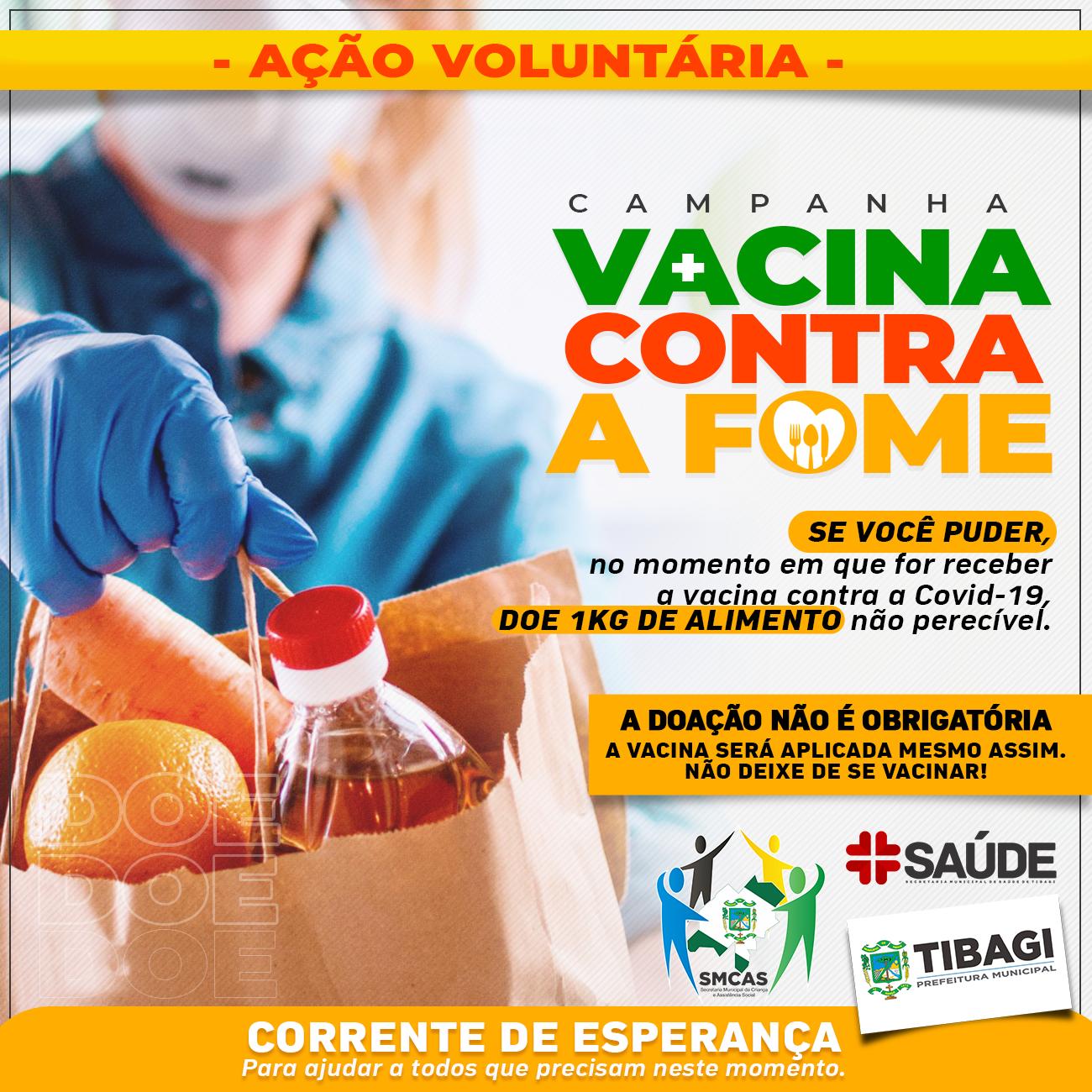 """Secretarias de Tibagi lançam a campanha """"Vacina contra a Fome"""""""