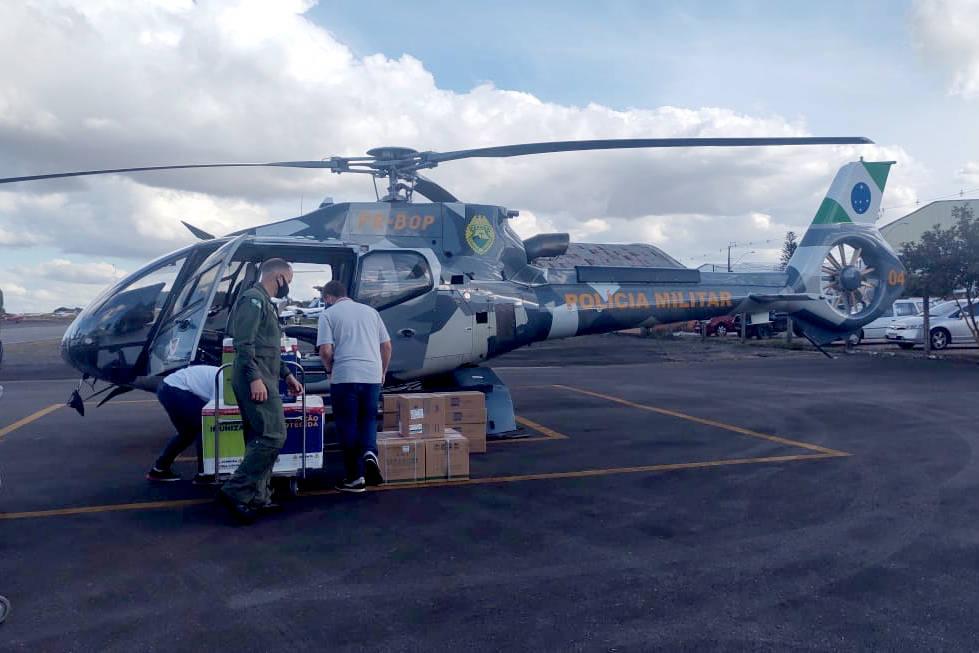 Em um mês, Batalhão de Operações Aéreas faz 20 missões de transporte de vacinas aos municípios