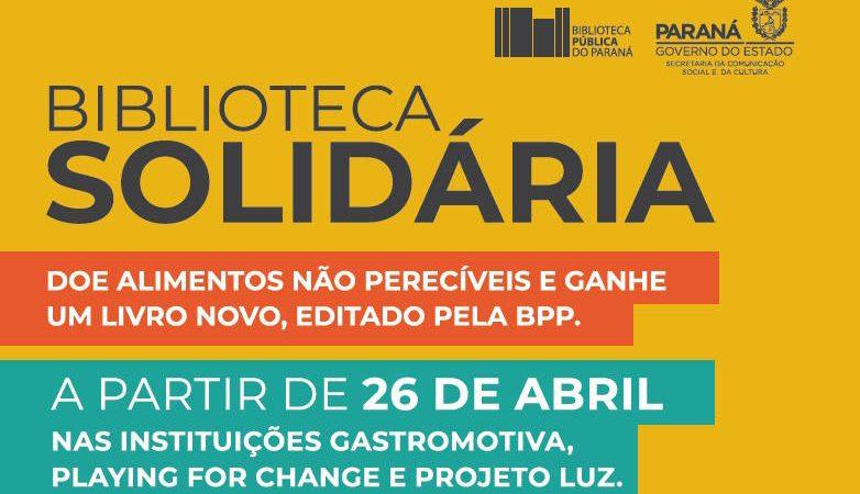 Biblioteca Pública do Paraná troca alimentos doados por livros novos