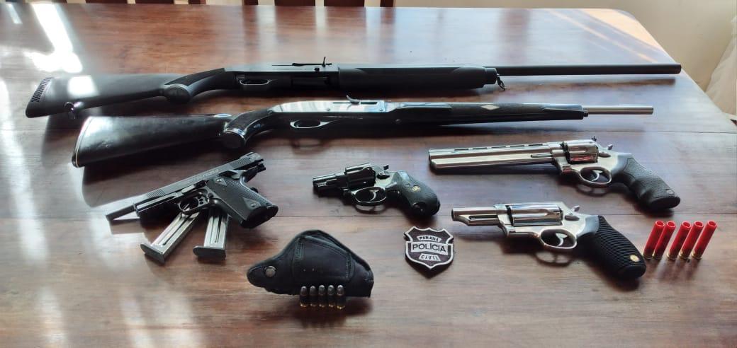 Seis armas de fogo são apreendidas na região
