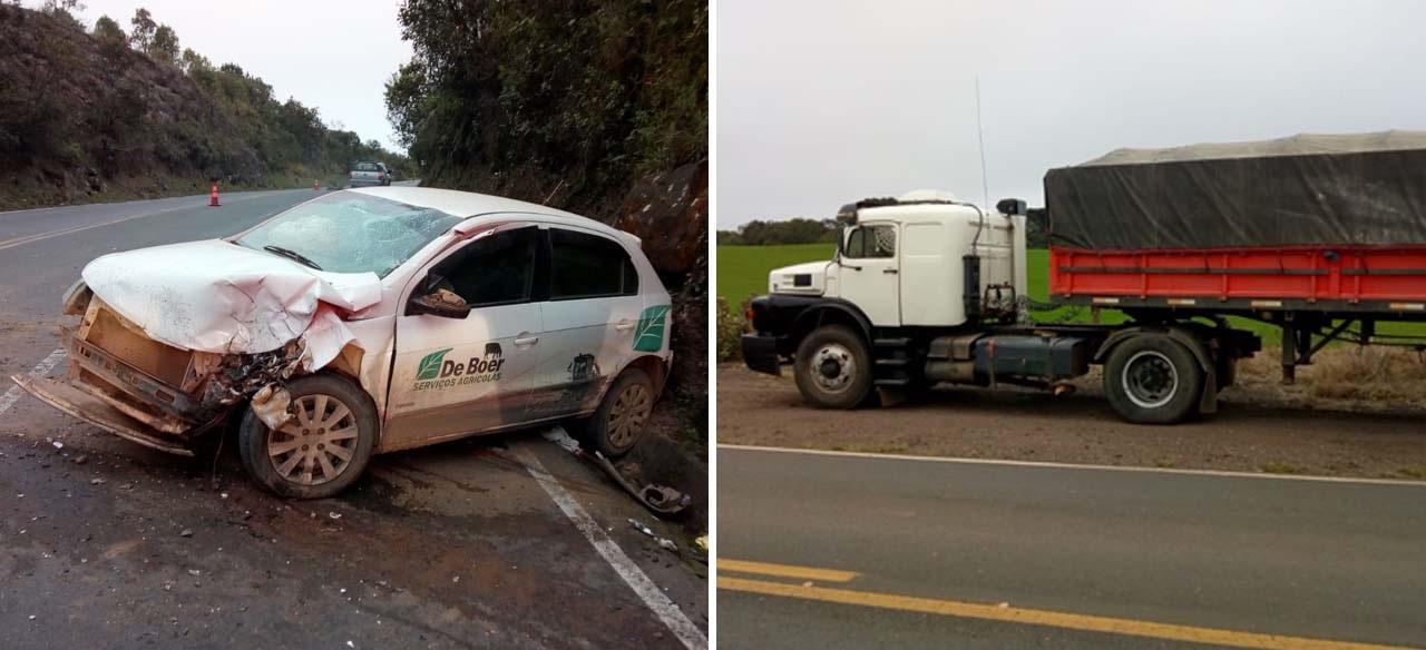 Três ficam feridos em colisão com caminhão e barranco na PR-340