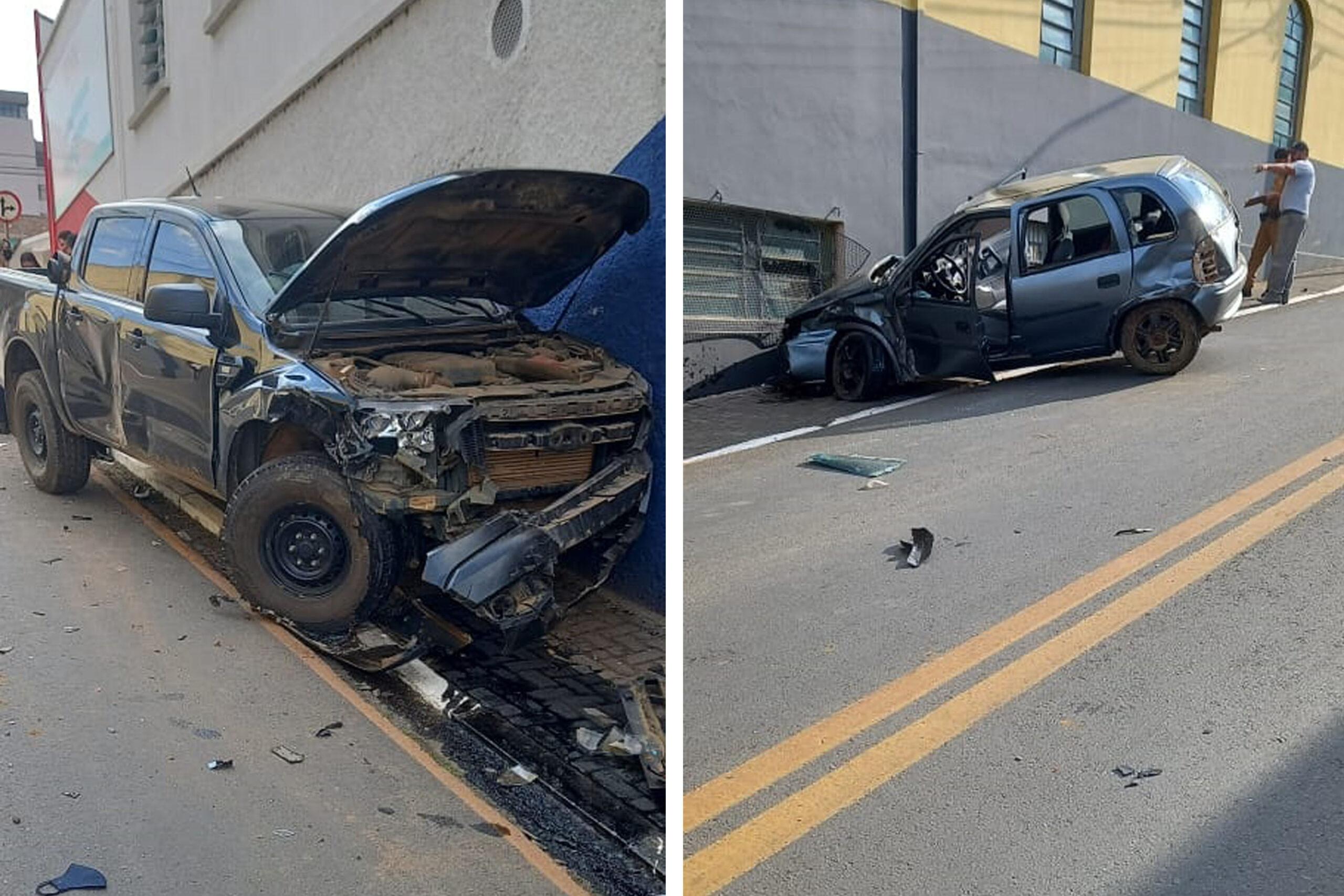 Colisão entre caminhonete e carro deixa duas pessoas feridas próximo ao Parque Lacustre