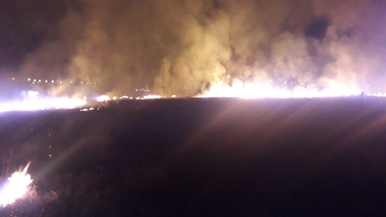 Área de vegetação nativa é atingida por incêndio em Castro