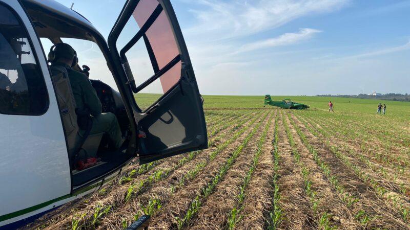 Avião agrícola faz pouso forçado em plantação de milho em PG