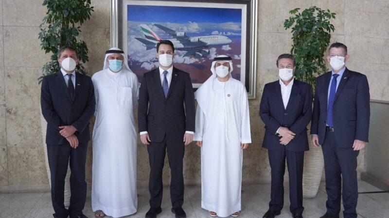 Em reunião com a Emirates, Ratinho Junior busca voo direto entre Paraná e Dubai